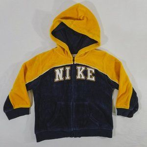 Nike Soft Velour Navy & Yellow Zip-Up Sweatshirt